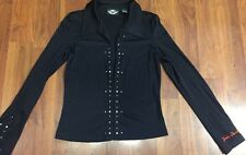 Harley Davidson Nylon Shirt Sz S Black Clasp Front And Cuff With Logo