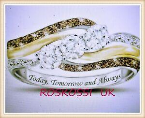 Luxury  Two Tone 3.1 CT Diamond  & Topaz High-grade  Ring Size N
