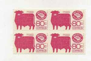 MEXICO EXPORTA SERIES BLOCK OF FOUR  CUTS OF BEEF  Mint Never Hinged