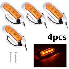 4x Amber/Orange Oval LED Side Marker Indicators Lights Van Truck Trailer 12V/24V