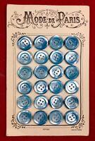 Superbe boutons anciens en Nacre sur plaquette - Made in France Paris Mode