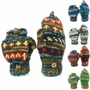 Chunky Wool Knit Fingerless Shooter Gloves Abstract Winter Warm Fleece Lined