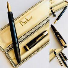 Superb Collectible ((1960s) 14ct Gold Piano Black Parker Pen In Original Box