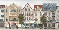 Wallpaper Border French Country Village Street Scene Multi Color