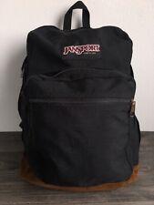 JANSPORT Backpack Vtg 90s Suede Leather Bottom School Book Bag Black Classic