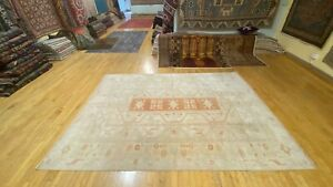 Bohemian Antique 1930-1939s Wool Pile Muted Dye Distressed Oushak Rug 7x10ft