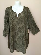 Women's St John's Bay Hartford Green Top with 3/4 Sleeves       Size 2X      NWT