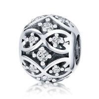 Authentic 925 Sterling Silver Charm Bead CZ Pendant Fits European Bracelet Chain