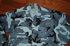 Camouflage Military BDU Fatigue Shirt  Blue Midnight Long Sleeve Medium-Regular