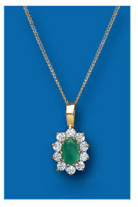 "Yellow Gold Emerald Pendant Cluster Hallmark 18"" Chain Natural Emeralds RRP £299"