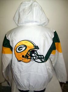 GREEN BAY PACKERS Starter Hooded Half Zip Pullover Jacket  XL 2X WHITE