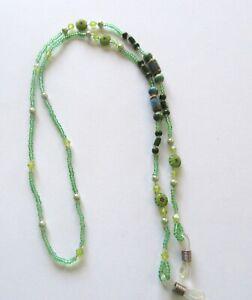 "Eye Glass Holder Chain- Green Seed Beads -round & barrel beads -28"" long"