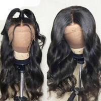 Pre plucked 360 lace front wig human hair body wave black virgin malaysian 1b