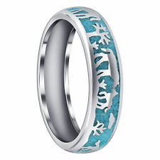 Men's 925 Sterling Silver Turquoise Gemstone Southwestern Story Telling 6mm Band