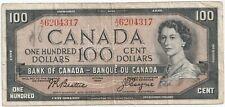1954 $100 Dollar Canada Bill - (Beattie - Coyne) - # AJ 6204317
