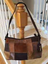 FOSSIL BROWN SUEDE/LEATHER PATCHWORK SHOULDER BAG WITH KEY URBAN CHILL BAG