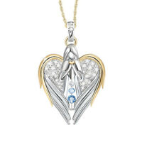 Two Tone 925 Silver Blue Topaz Angel Pendant Heart Necklace Chain Cross Jewelry
