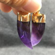 Natural dreamy amethyst quartz inlay Wolf Teeth crystal pendant point healing 1p