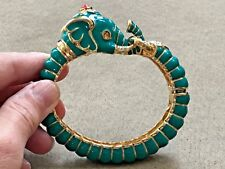 Kenneth Jay Lane's Teal Raj Elephant Limited Edition Bangle Bracelet