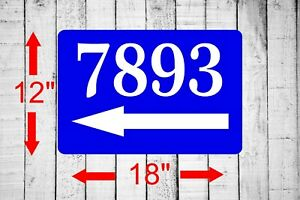"Personalized 12"" x 18"" Aluminum Metal Sign Your Custom Address Left Arrow sq30"