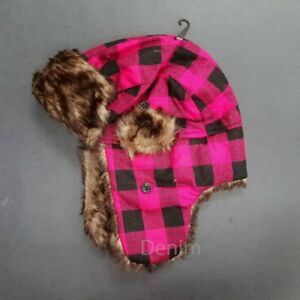 Aviator Winter Hats Trapper Earflap Fleece Plaid Fur Flap Bomber Snow Ski Cap