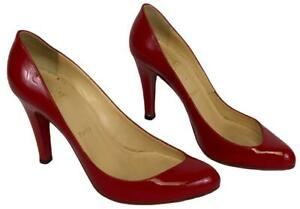 Pair CHRISTIAN LOUBOUTIN Paris Red Patent Leather Pumps High Heels Shoes Size 40