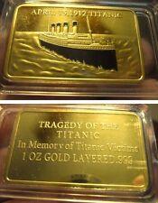LINGOT OR PL 999% TITANIC  TRAGEDIE DU 15 AVRIL 1912 POIDS 30 GRAMMES*
