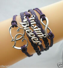 Justin Bieber & Double Hearts & Infinity Charms Leather Braided Bracelet Purple
