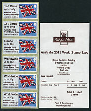 AUSTRALIA 2013 WORLD STAMP EXPO OVPT FLAG GB ISSUE A5GB13 B1 FLAGS POST & GO FDI