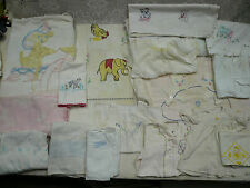 Vtg 18 Pc Baby Bedding/Clothing Cutter Lot Crib Spread Sheets Blankets Chenille