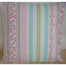 "NEW 16"" Pink Aqua Cushion Cover Laura Ashley Clementine Stripe Butterflies"