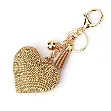 Fancy Women Crystal Rhinestone Pendant Heart Shape Key Ring Chain Keychain Ring