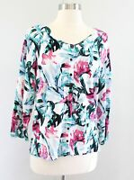 White House Black Market White Pink Green Floral Print Cardigan Sweater Size XL