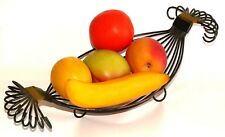 VINTAGE METAL BASKET ARTIFICIAL PLASTIC FRUIT lemon orange banana peach apple