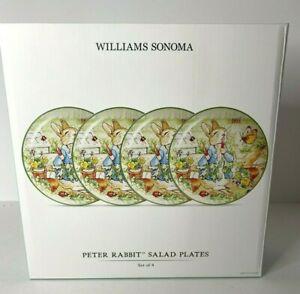 "Williams Sonoma Peter Rabbit Salad Desert Plates 8 1/2"" ~ SET Of 4~ New"