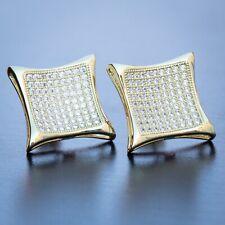 Men's 14K Gold Bling  Hip Hop Large Iced 5A CZ Kite Square Stud Earrings