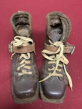 Vintage 1920's Original Dark Brown Leather Ski Boots with strap ( skiing )