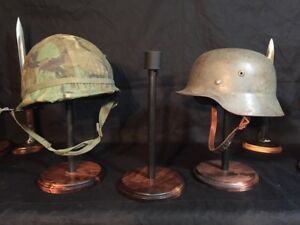 HELMET STAND-Military - German, US, WWI,WWII, OWC-I-C, Old World Classic finish