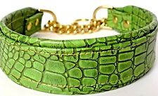 Crocodile Green Martingale Dog Collar 2 Inch Width Tapered To 1 inch Gold Chain