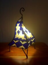 Painted Moroccan Henna Table / Floor Lamp- square- purple-cream 38 cm