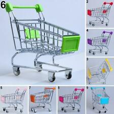 BL_ Mini Shopping Cart Supermarket Trolley Desk Storage Pet Bird Toy Basket 8 Co
