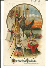 THANKSGIVING GREETINGS INDIAN COUPLE WITH TURKEY - UNSIGNED SCHMUCKER 1914