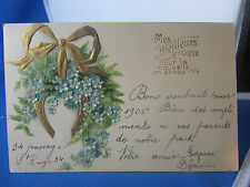 cpa illustrateur fantaisie fer a cheval fleur bleue gauffre