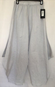 Bryn Walker Crinckle Cotton Woman Semi Sheer Harem Lagenlook Pants Ice White XS