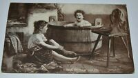 VNTG POSTCARD SHEAHAN'S FAMOUS PICTURE THE FAMILY WASH BOSTON 1908 CHILDREN