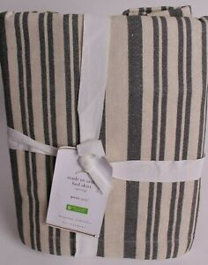 "NWT Pottery Barn Antique Stripe bed skirt, queen, gray, 14"" drop"