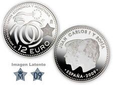 Moneda plata 12 euros 2009 - 10 aniversario union economica