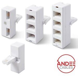 BT Telephone Socket Adapter Plug Extender Splitter Fax Modem Double Triple Quad