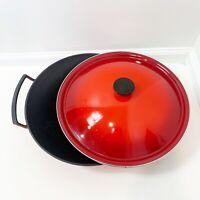 Le Creuset 5 Quart Qt Cerise Cherry Red Cast Iron Wok Pan Pot With Lid