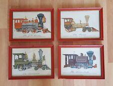 Lot of 4 Evelyn Curro Antique Train (1836-75) Art Prints Framed & Under Glass Vt